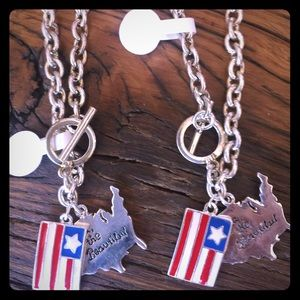 Jewelry - Silver chain with red, white blue USA charm